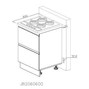 JB2060600 Baza pentru Plita cu 2 Sertare 358 Orizontale Antaro cu Amortizare Blum si 1 Sertar Orizontal Antaro cu Amortizare Blum Interior 100
