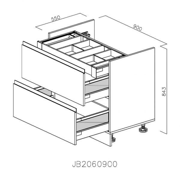 JB2060900 Baza pentru Plita cu 2 Sertare 358 Orizontale Antaro cu Amortizare Blum si 1 Sertar Orizontal Antaro cu Amortizare Blum Interior 100 deschis