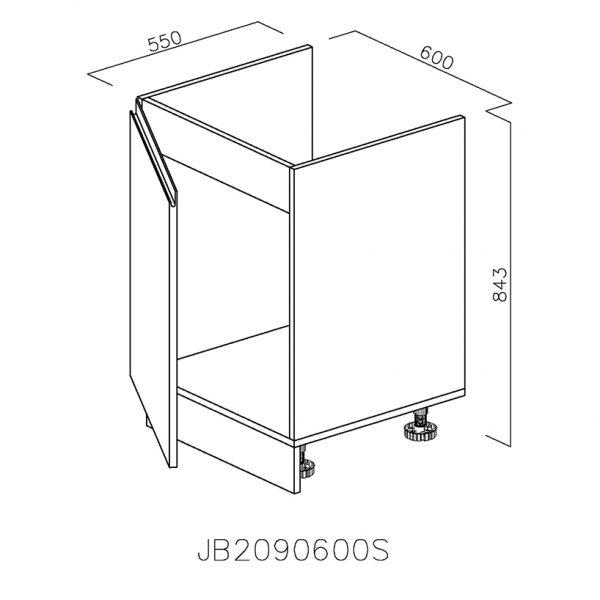 JB2090600 Baza Masca Chiuveta 1 Usa Verticale si 2 Balamale cu Amortizare Blum cu deschidere pe stanga