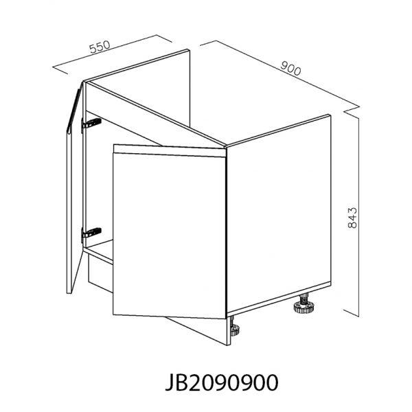 JB2090900 Baza Masca Chiuveta 2 Usi Verticale si 4 Balamale cu Amortizare Blum deschise 1