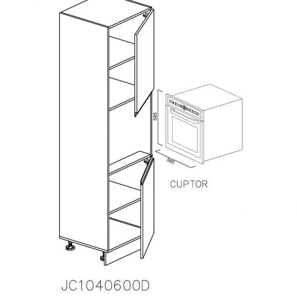 JC1040600D Coloana cu Cuptor cu 1 Usa 760 si 1 Usa 718 2 Polite si 5 Balamale cu Amortizare Blum cu deschidere pe dreapta