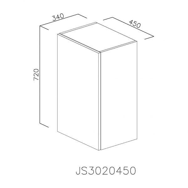 JS3020450 Suspendat cu Scurgator Vase Inox cu 1 Usa Verticala si 2 Balamale cu Amortizare Blum