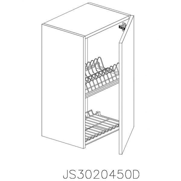 JS3020450D Suspendat cu Scurgator Vase Inox cu 1 Usa Verticala si 2 Balamale cu Amortizare Blum cu deschidere pe dreapta