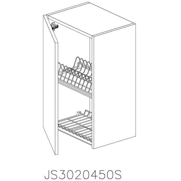JS3020450S Suspendat cu Scurgator Vase Inox cu 1 Usa Verticala si 2 Balamale cu Amortizare Blum cu deschidere pe stanga