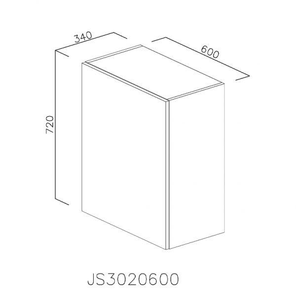 JS3020600 Suspendat cu Scurgator Vase Inox cu 1 Usa Verticala si 2 Balamale cu Amortizare Blum