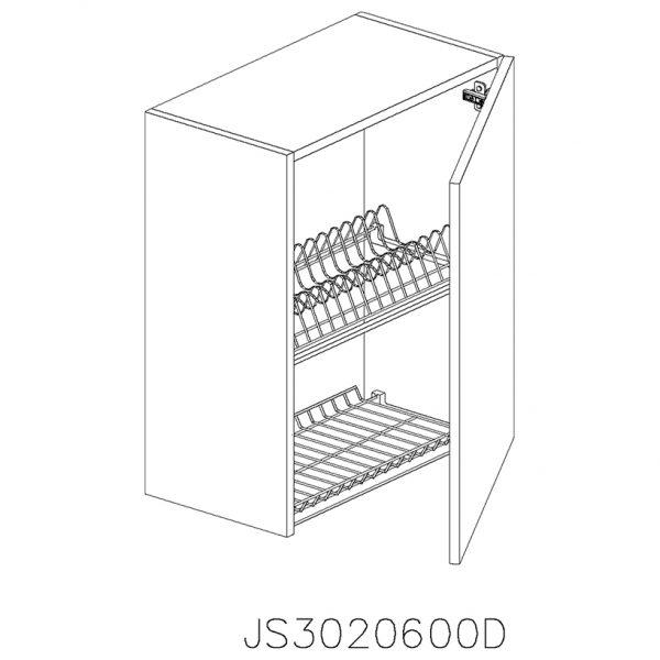 JS3020600D Suspendat cu Scurgator Vase Inox cu 1 Usa Verticala si 2 Balamale cu Amortizare Blum cu deschidere pe dreapta
