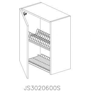 JS3020600S Suspendat cu Scurgator Vase Inox cu 1 Usa Verticala si 2 Balamale cu Amortizare Blum cu deschidere pe stanga