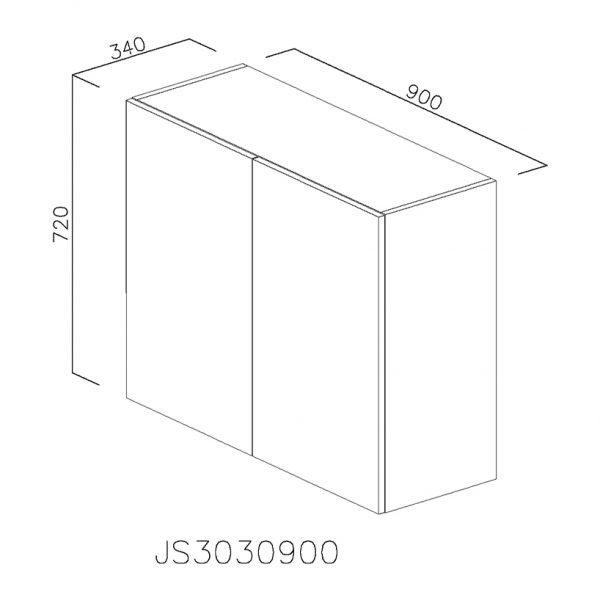 JS3030900 Suspendat cu Scurgator Vase Inox cu 2 Usi Verticale si 4 Balamale cu Amortizare Blum