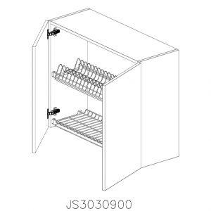 JS3030900 Suspendat cu Scurgator Vase Inox cu 2 Usi Verticale si 4 Balamale cu Amortizare Blum deschise