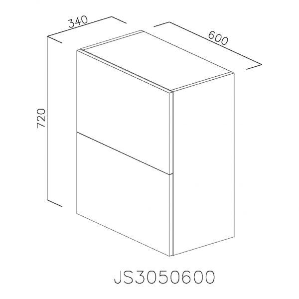 JS3050600 Suspendat cu Hota Elica 320MCH cu 2 Usi Orizontale si 1 Sistem cu Amortizare Aventos HF Blum
