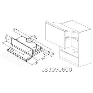 JS3050600 Suspendat cu Hota Elica 320MCH cu 2 Usi Orizontale si 1 Sistem cu Amortizare Aventos HF Blum deschise