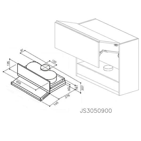 JS3050900 Suspendat cu Hota Elica 320MCH cu 2 Usi Orizontale si 1 Sistem cu AmortizareAventos HF Blum deschise 1