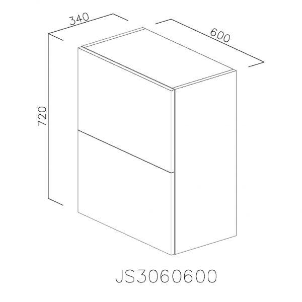 JS3060600 Suspendat cu 2 Usi Orizontale 1 Polita si 1 Sistem cu Amortizare Aventos HF Blum