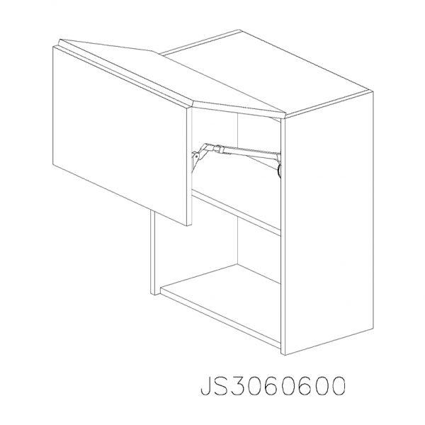 JS3060600 Suspendat cu 2 Usi Orizontale 1 Polita si 1 Sistem cu Amortizare Aventos HF Blum deschis