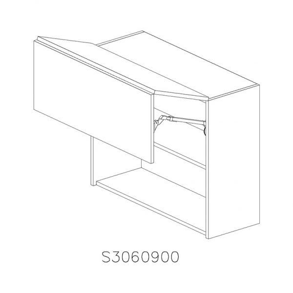 JS3060900 Suspendat cu 2 Usi Orizontale 1 Polita si 1 Sistem Aventos HF Blum deschis