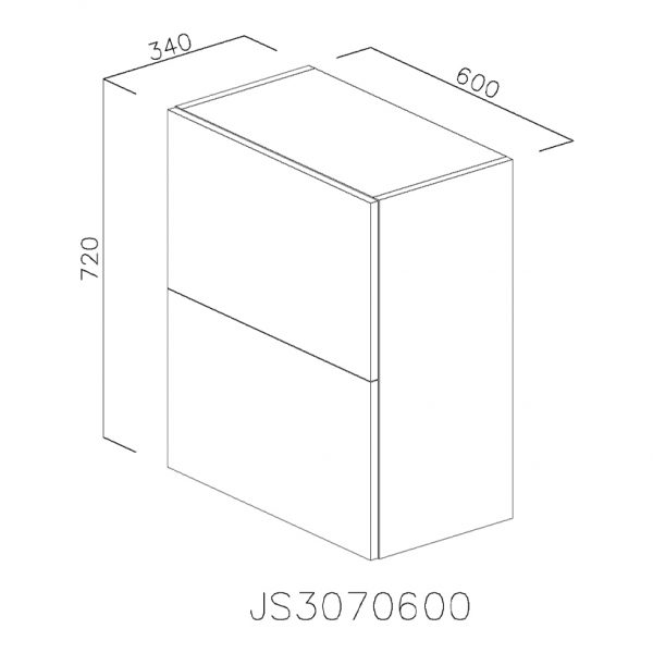 JS3070600 Suspendat cu Scurgator de Vase Inox 2 Usi Orizontale si 1 Sistem cu Amortizare Aventos HF Blum