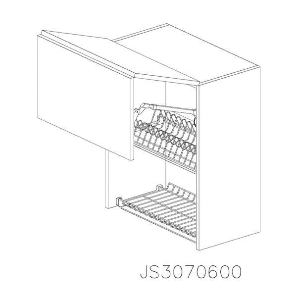 JS3070600 Suspendat cu Scurgator de Vase Inox 2 Usi Orizontale si 1 Sistem cu Amortizare Aventos HF Blum deschis