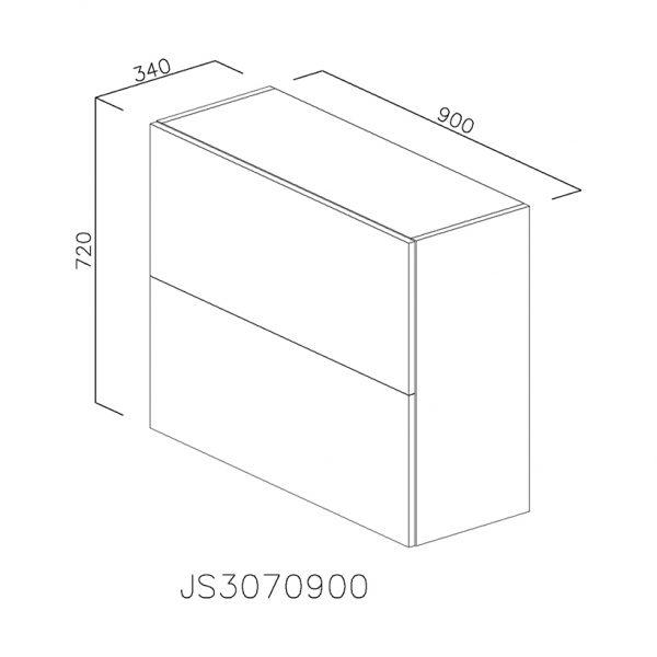 JS3070900 Suspendat cu Scurgator de Vase Inox 2 Usi Orizontale si 1 Sistem cu Amortizare Aventos HF Blum