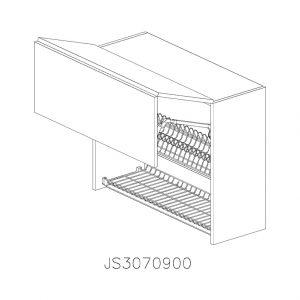 JS3070900 Suspendat cu Scurgator de Vase Inox 2 Usi Orizontale si 1 Sistem cu Amortizare Aventos HF Blum deschis