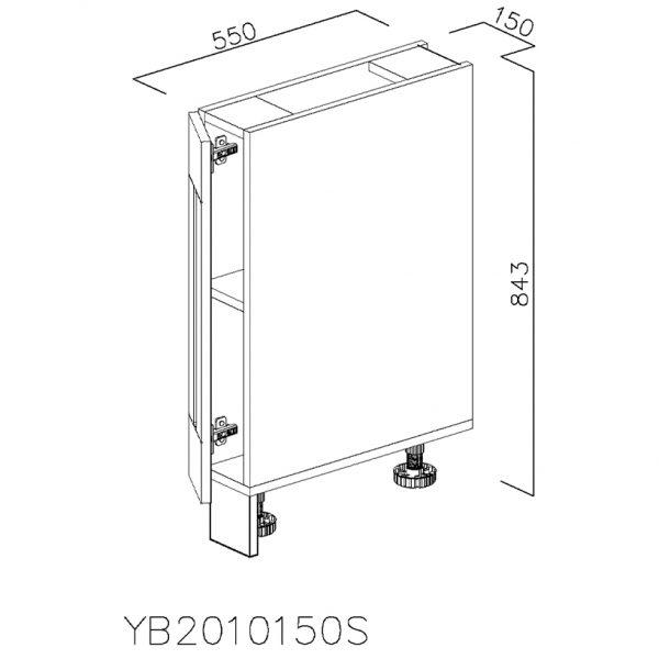 YB2010150S Baza cu 1 Usa Verticala 1 polita si 2 Balamale cu Amortizare Blum cu deschidere pe stanga