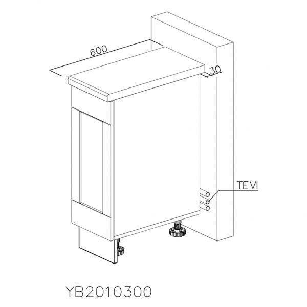 YB2010300 Baza cu 1 Usa Verticala 1 polita si 2 Balamale cu Amortizare Blum
