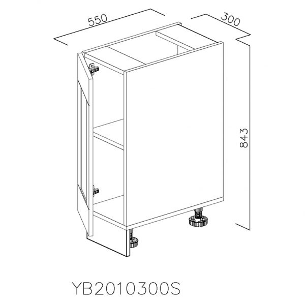 YB2010300S Baza cu 1 Usa Verticala 1 polita si 2 Balamale cu Amortizare Blum cu deschidere pe stanga
