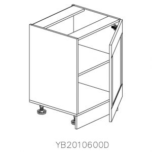 YB2010600D Baza cu 1 Usa Verticala 1 polita si 2 Balamale cu Amortizare Blum cu deschidere pe dreapta