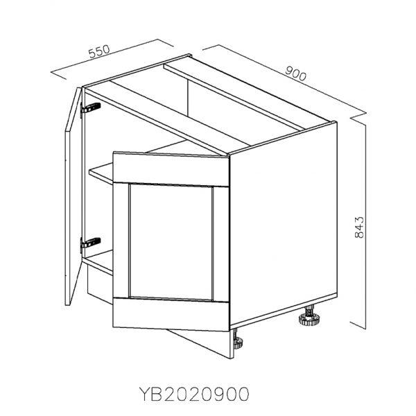 YB2020900 Baza cu 2 Usi Verticale 1 polita si 2 Balamale cu Amortizare Blum cu usi deschise
