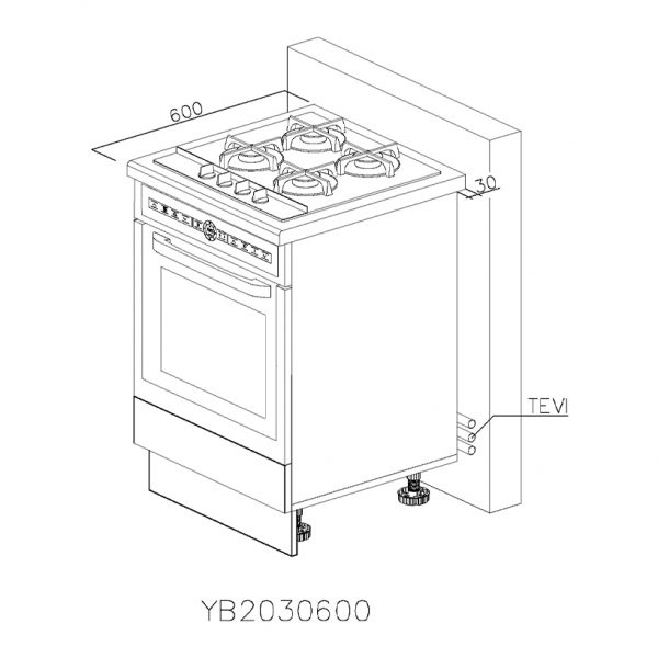 YB2030600 Baza Cuptor cu 1 Sertar Orizontal Antaro cu Amortizare Blum