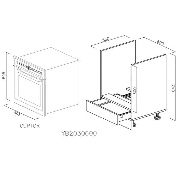 YB2030600 Baza Cuptor cu 1 Sertar Orizontal Antaro cu Amortizare Blum deschis