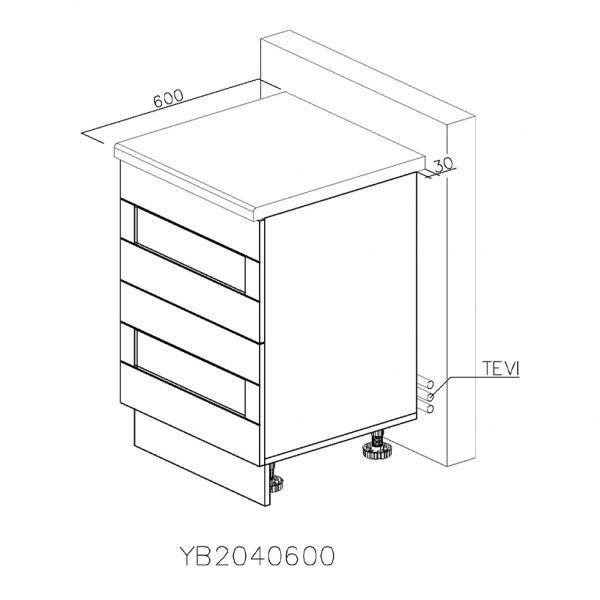 YB2040600 Baza cu 2 Sertare Tandembox Antaro cu Amortizare Blum