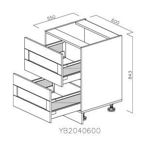 YB2040600 Baza cu 2 Sertare Tandembox Antaro cu Amortizare Blum deschis