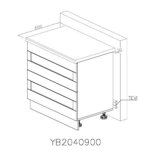 YB2040900 Baza cu 2 Sertare Tandembox Antaro cu Amortizare Blum