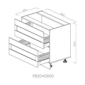 YB2040900 Baza cu 2 Sertare Tandembox Antaro cu Amortizare Blum deschis.jpg