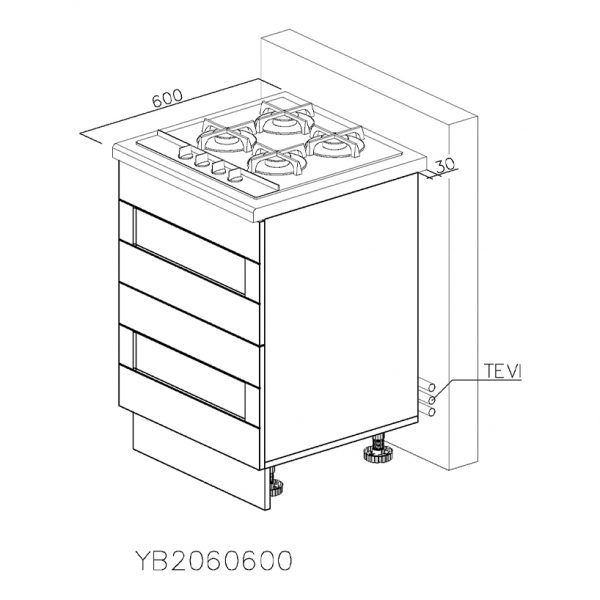 YB2060600 Baza pentru Plita cu 2 Sertare Tandembox Antaro cu amortizare Blum si 1 Sertar Tandembox Antaro cu amortizare Interior H 100