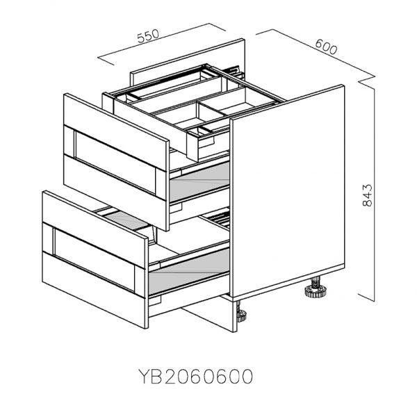 YB2060600 Baza pentru Plita cu 2 Sertare Tandembox Antaro cu amortizare Blum si 1 Sertar Tandembox Antaro cu amortizare Interior H 100 deschis