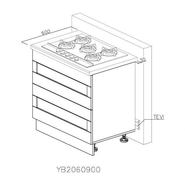 YB2060900 Baza pentru Plita cu 2 Sertare Tandembox Antaro cu amortizare Blum si 1 Sertar Orizontal Tandembox Antaro cu amortizare Blum Interior H 100