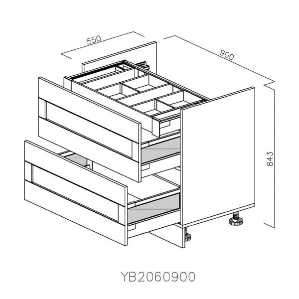 YB2060900 Baza pentru Plita cu 2 Sertare Tandembox Antaro cu amortizare Blum si 1 Sertar Orizontal Tandembox Antaro cu amortizare Blum Interior H 100 deschis
