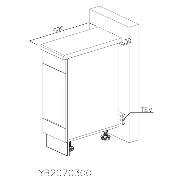 YB2070300 Joly cu 1 Sertar Tandembox Antaro cu amortizare Blum si 1 Sertar Tandembox Antaro cu amortizare Blum Interior H 100