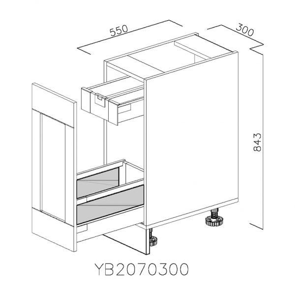 YB2070300 Joly cu 1 Sertar Tandembox Antaro cu amortizare Blum si 1 Sertar Tandembox Antaro cu amortizare Blum Interior H 100 deschis