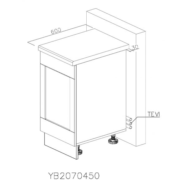 YB2070450 Joly cu 1 Sertar Tandembox Antaro cu amortizare Blum si 1 Sertar Tandembox Antaro cu amortizare Blum Interior H 100