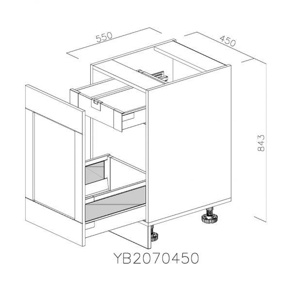 YB2070450 Joly cu 1 Sertar Tandembox Antaro cu amortizare Blum si 1 Sertar Tandembox Antaro cu amortizare Blum Interior H 100 deschis