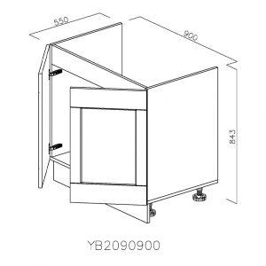 YB2090900 Baza Masca Chiuveta 2 Usi Verticale si 4 Balamale cu Amortizare Blum deschis