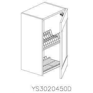 YS3020450D Suspendat cu Scurgator Vase Inox cu 1 Usa Verticala si 2 Balamale cu Amortizare Blum cu deschidere pe dreapta