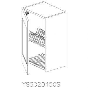 YS3020450S Suspendat cu Scurgator Vase Inox cu 1 Usa Verticala si 2 Balamale cu Amortizare Blum cu deschidere pe stanga