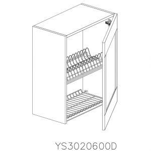 YS3020600D Suspendat cu Scurgator Vase Inox cu 1 Usa Verticala si 2 Balamale cu Amortizare Blum cu deschidere pe dreapta