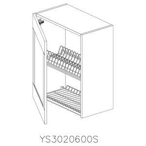 YS3020600S Suspendat cu Scurgator Vase Inox cu 1 Usa Verticala si 2 Balamale cu Amortizare Blum cu deschidere pe stanga