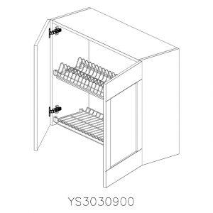 YS3030900 Suspendat cu Scurgator Vase Inox cu 2 Usi Verticale si 4 Balamale cu Amortizare Blum deschise