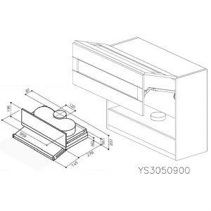 YS3050900 Suspendat cu Hota Elica Ciak 320MCH cu 2 Usi Orizontale si 1 Sistem cu Amortizare Aventos HF Blum deschise