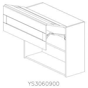 YS3060900 Suspendat cu 2 Usi Orizontale 1 Polita si 1 Sistem cu amortizare Aventos HF Blum deschis